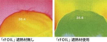「rFOIL」遮熱材無し時と使用時の比較